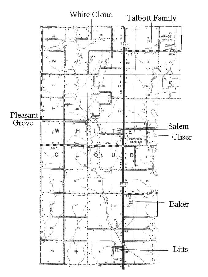 White Cloud Township Cemetery Map - Us-highway-71-map