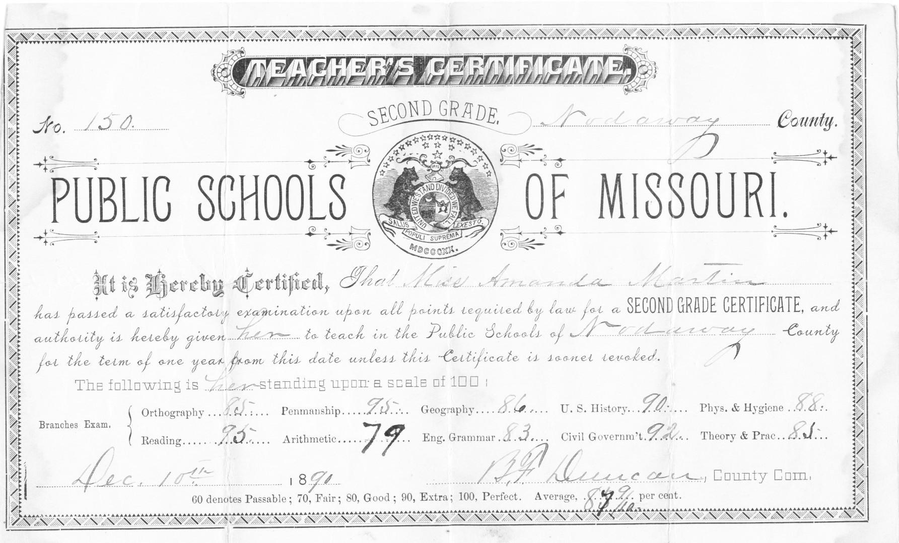 Nodaway County Missouri Amanda Martin Teacher Certificate 1889